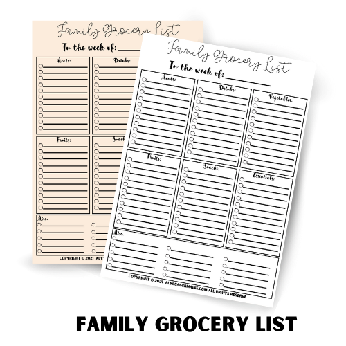 pink white grocery list sheets