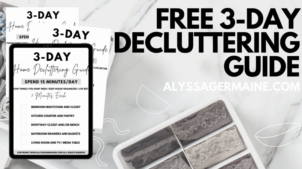 Free 3-day decluttering guide sheets model
